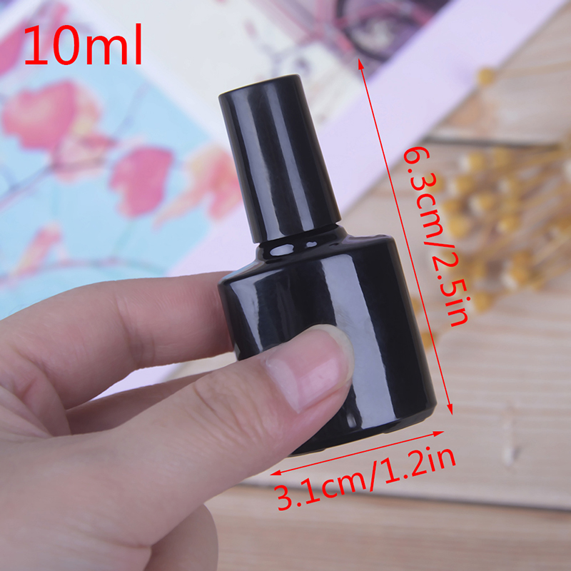 10ml Empty Nail Polish Bottle Black Glass With Agitator Mixing Balls Nail Polish Sub Bottling With Lid Brush Cosmetic Containers