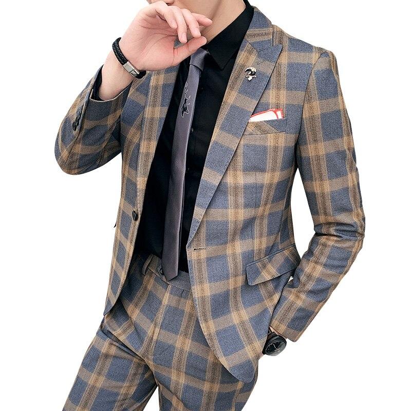 Howme Mens 1 Button Two Piece Suit Blazer Jacket /& Flat Pants Set