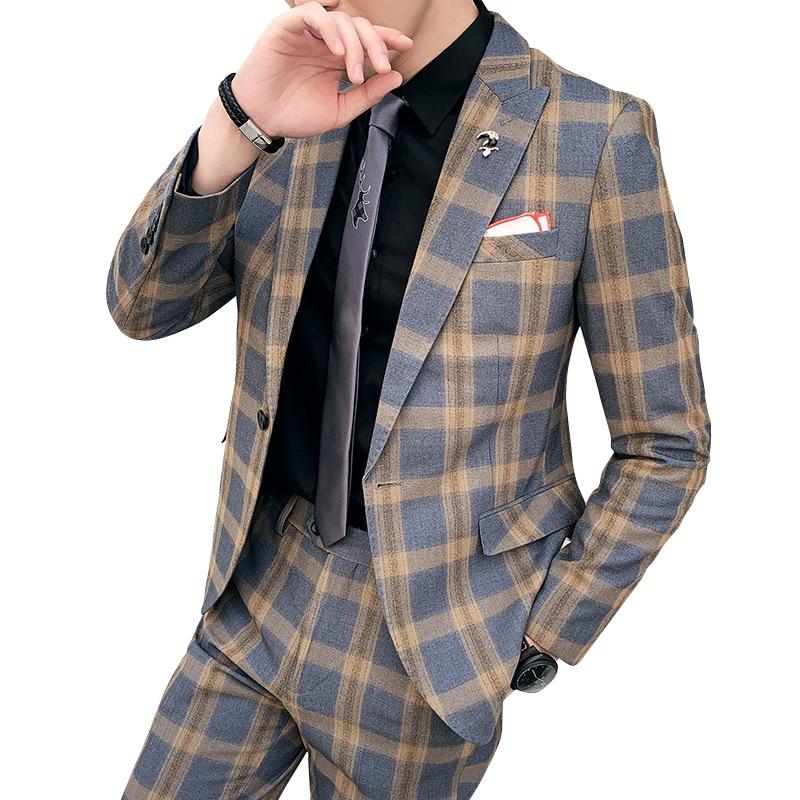 British Style Slim Men's Suit Set Two-piece (coat With Pants) Fashion Check Autumn Groom Wedding Blazer Banquet Suit