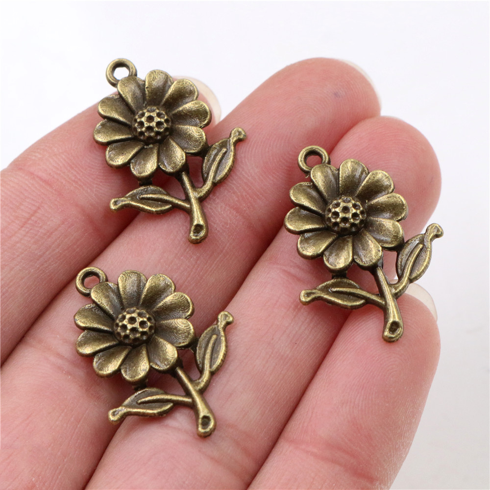 27x19mm 12pcs Antique Bronze Plated Sunflower Handmade Charms Pendant:DIY For Bracelet Necklace-R4-24