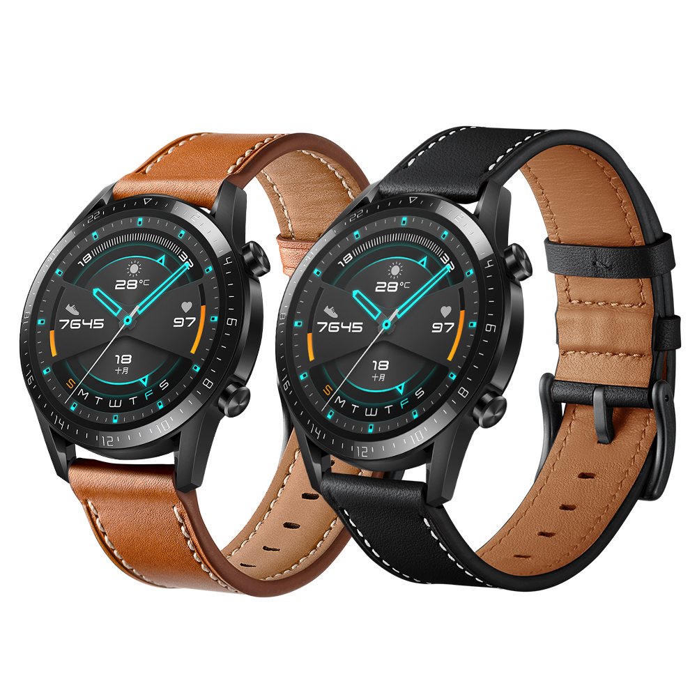 Black Brown Leather Watchband For HUAWEI WATCH GT 2 46mm 42mm Wrist Strap GT2 Smartwatch Band Bracelet Accessories