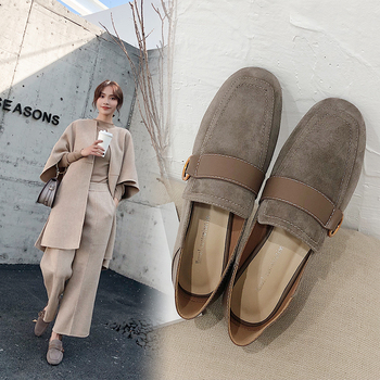 women Pumps Genuine Leather 22-24.5cm Sheep suede stitching Korean inside and outside Metal full leather shoes