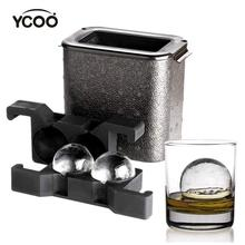 YCOO Crystal Clear Ice Ball Maker - Ice Ball Spherical Whiskey Tray Mould Maker (Bubble-Free, 2-Cavity 2.35