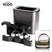 YCOO-boule de glace à cristal transparent, fabricant de boules de glace à whisky sphérique (sans bulle, moule à 2 cavités 2.35 pouces, une pince à glace)