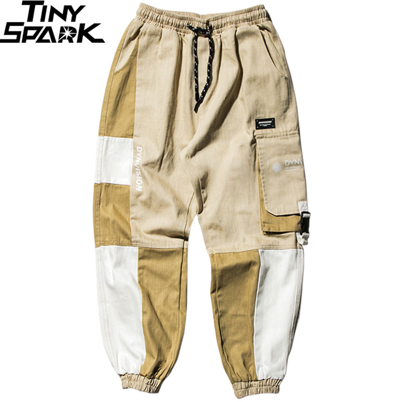 Men Cargo Pants Hip Hip Streetwear Color Block Harajuku Joggers Harem Pants 2019 Casual Tactical Pants Side Pockets Trousers