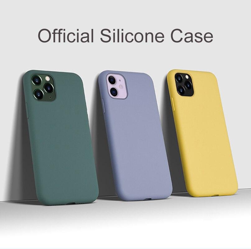 Silicone Case For IPhone 9 SE2 11 Pro XS Max 7 8 6 6s Plus + X XR XS Case Liquid Silicone Luxury Cover Soft Microfiber Original