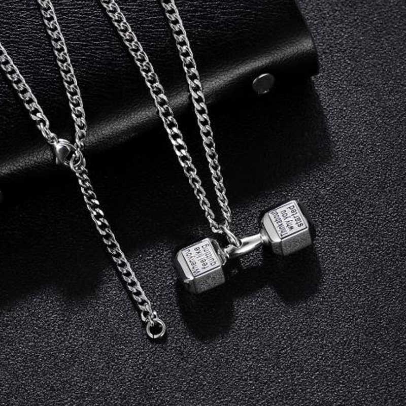 Srebrny naszyjnik męskie hantle ze stali nierdzewnej fitness wisiorek para chaine czarny naszyjnik męskie dodatki biżuteria na szyi