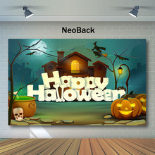 NeoBack Happy Halloween Photography Backdrops Witch Wooden House Background Moon Kids Children Night Party Backdrop