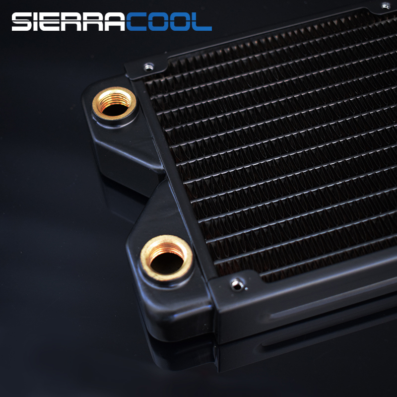 Купить с кэшбэком Thickness Copper 360mm Radiator Computer Water Discharge Liquid Heat Exchanger G1/4 Threaded use for 12cm Fans