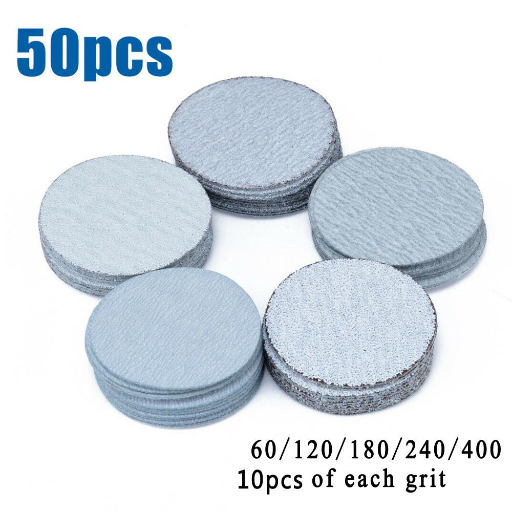 Brand New And High Quality 50PCS 2inch 50mm Hook &Loop Sanding Disc 60/120/180/240/400 Grit Mixed Sandpaper
