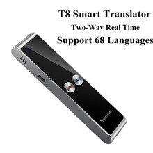 T8 portátil mini tradutor inteligente sem fio 68 multi idiomas em dois sentidos tradutor de tempo real para aprender viagem reunião de negócios