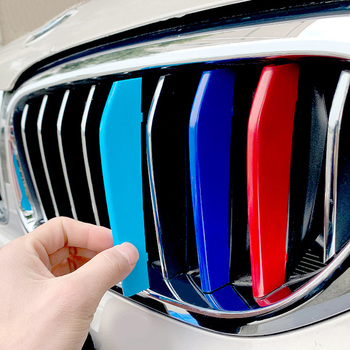 Racing Grille Sport Stripe Clip For BMW 1 3 5 6 7 Series GT F10 F11 F18 F30 F31 E90 E91 F20 F21 ABS Sticker Cover Car Styling image