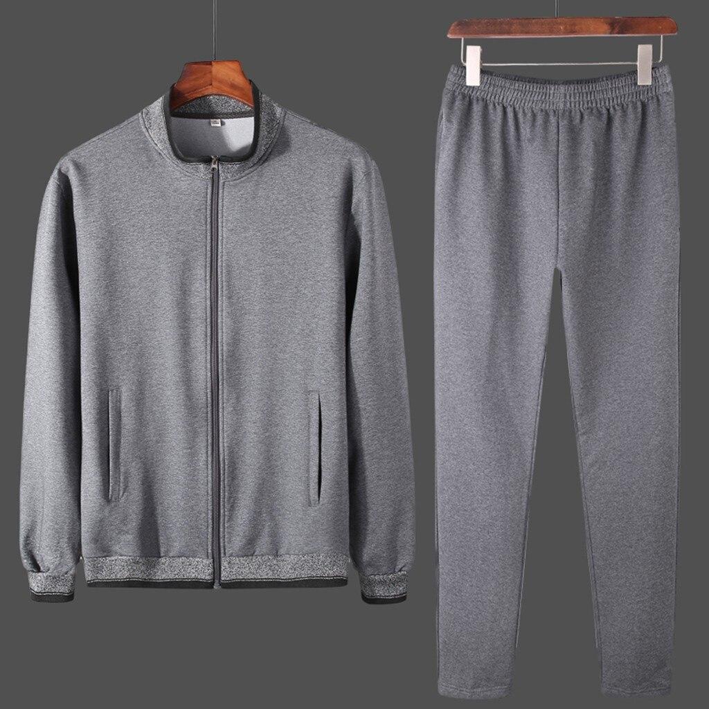 Tracksuit Men 2019 Autumn Winter 2PCS Sweatpants Sportwear Set Sweatshirt Mens Hip Hop Set Zipper Jacket+Pant Suit  10.30