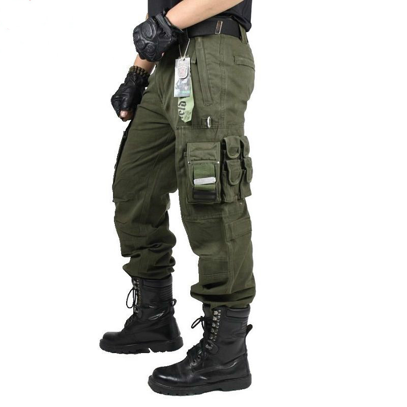 Mens Cargo Pants New Casual Combat Army Military Tactical Style Pocket Trousers Autumn Male Outdoor Climbing Overalls Straight