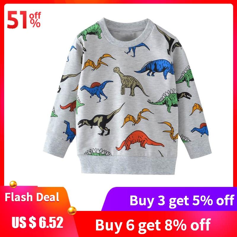 SAILEROAD Boys Sweatshirts Dinosaur Kids Hoodies Autumn Little Children Cartoon Cotton