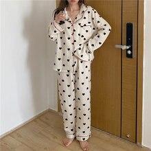 Женский пижамный комплект хлопковый кардиган пижама с принтом