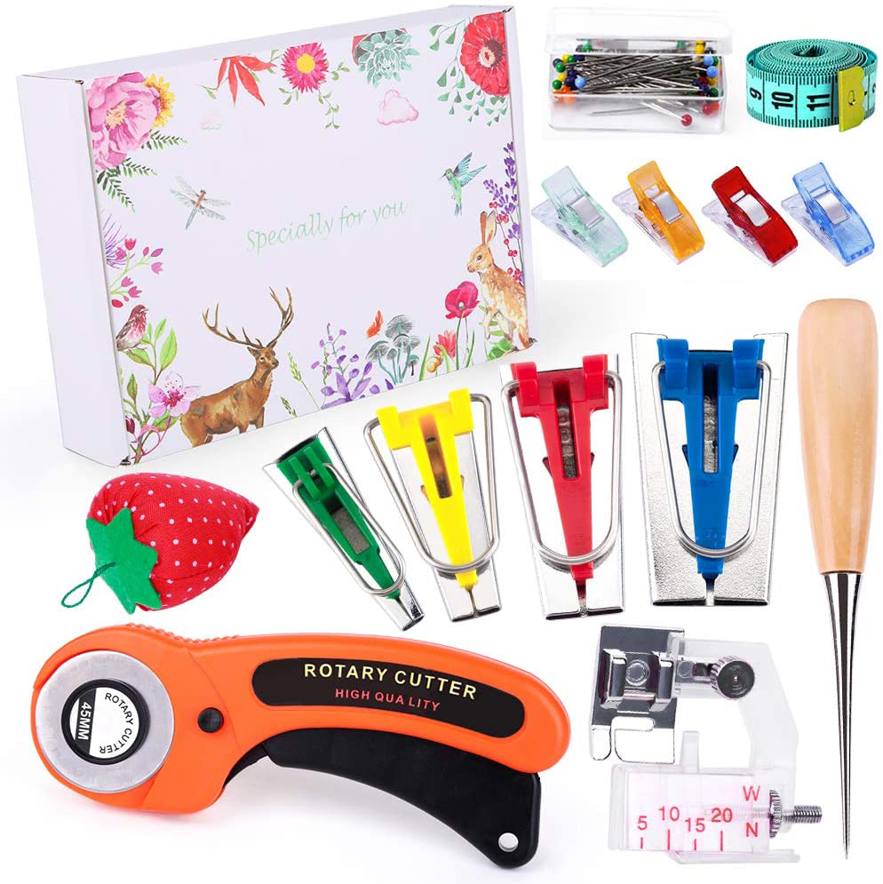 MIUSIE Fabric Bias Tape Makers Kit with Rotary Cutter, Sewing Clips, Sewing Machine Presser Foot, Rotary Cutter for Fabric-0