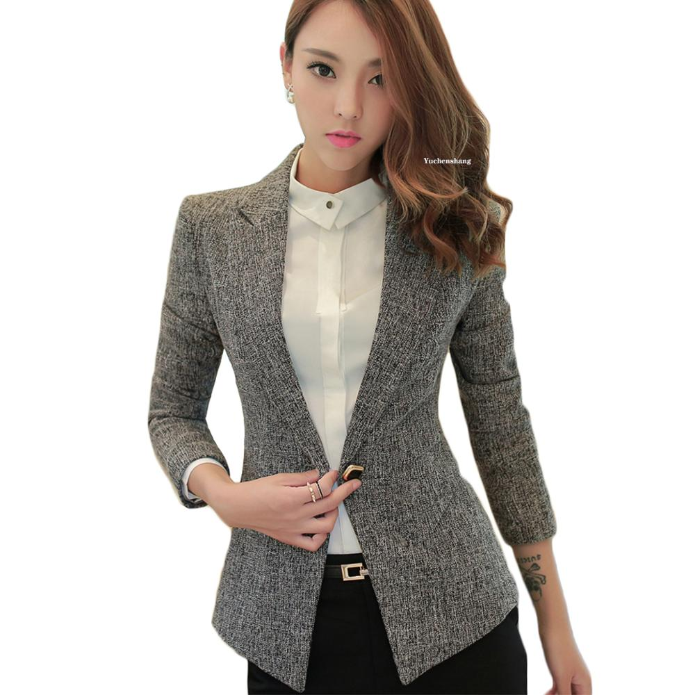 Women Notched Collar Blazer With Slanted Pocket New Fall Winter Green Gray Single Button Jackets Slim Coat 5XL 6XL 7XL