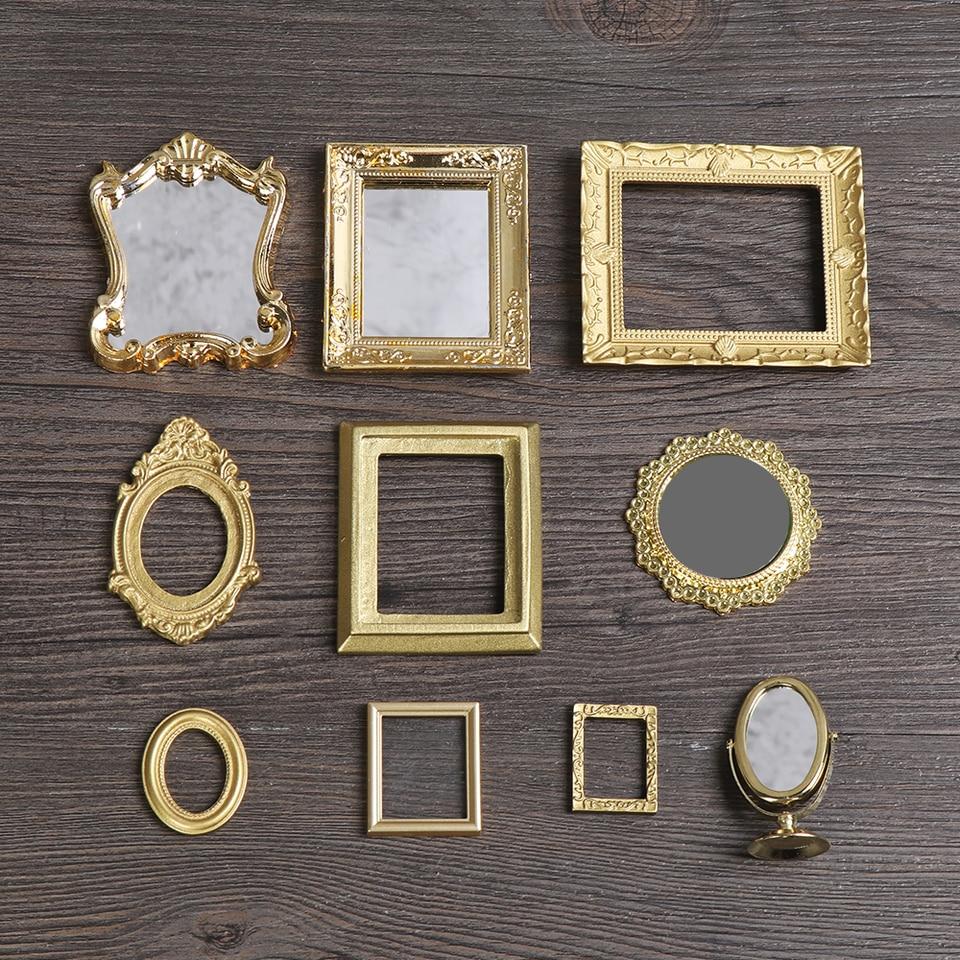 5cm MagiDeal Vintage Style Round Golden Metal Framed Mirror Dollhouse Furniture Dia