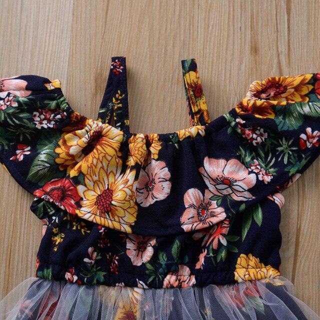 Robe de soirée et de mariage | Vêtements dété, motif Floral, à volants, en maille, pour bébés filles, 2020