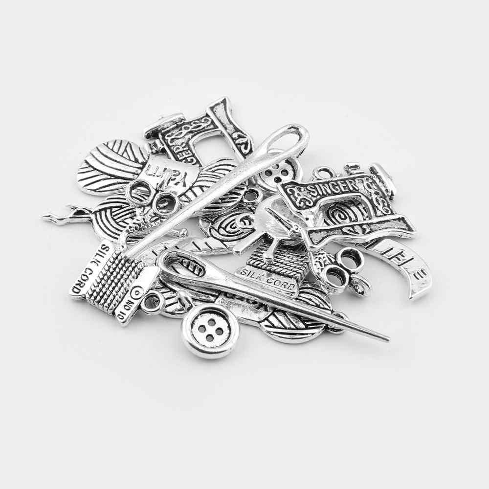 16 pçs/lote pingentes tibetanos antigos, cor prata, costura, agulha, tesoura, pingentes charme para fazer jóias, acessórios pulseira