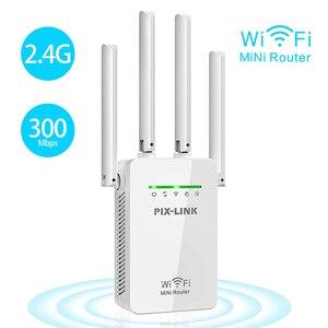 Image 1 - WR09 Repetidor De Sinal Wifi yönlendirici aralığı genişletici kablosuz Wifi tekrarlayıcı 300mbps ağ sinyal amplifikatör ile 4 antenler