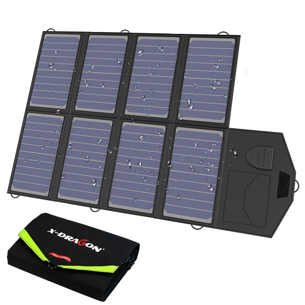 Семейная солнечная панель 40 Вт, зарядное устройство с солнечной батареей для телефонов iPhone Samsung, ноутбуков, 12 В, автомобильная батарея для ак...