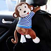 Cute Monkey Tissue Box For Car Unique Type Rabbit Paper Towel Cartoon Hanging Storage Box Creative Tissue Storage Container