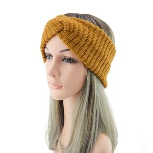 Women Winter Striped Knitted Cross Headband Solid Color Ear Warmer Bandage Soft Warm Crochet Knitted Head Wrap Hair Accessories