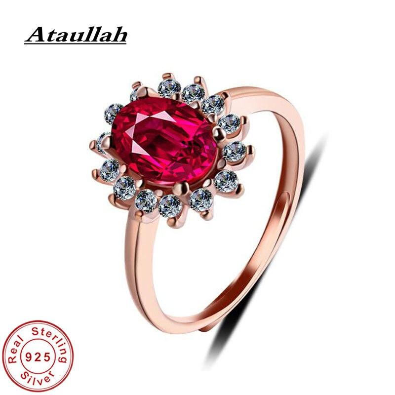 Ataullah rouge corindon anneaux cubique Zircon rubis Jade anneau argent 925 bijoux pour femmes cadeau fête Fine bijoux RW075
