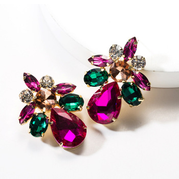 KMVEXO Colorful Crystal Drop Earrings Women Round Geometric Pendant Dangle Earrings Indian Bridal Statement Jewelry Party Bijoux 10