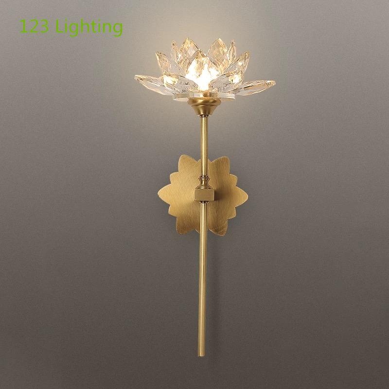 Современные цветок светодиодный настенный светильник Медь с украшением в виде кристаллов Гостиная Лестницы настенный светильник проход Ванная комната настенное бра 90-260 в украшения дома