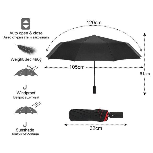 Windproof Automatic Double Umbrella Rain Women 3Fold Female Male 10 Bone Car Luxury Large Business Umbrellas Men Gift Parasol 2