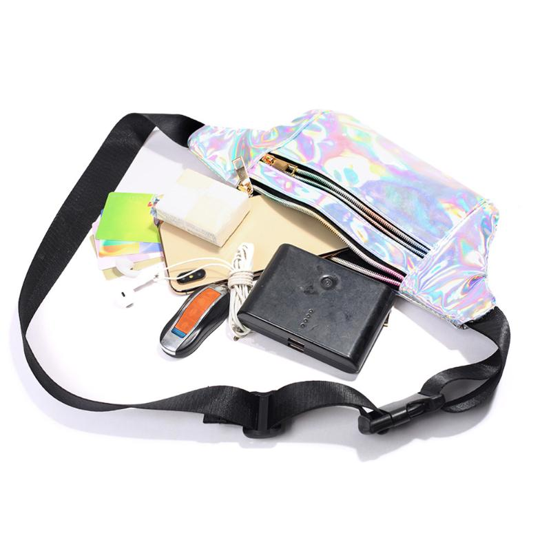 Ladies Chest Bags Fashion Laser Splicing PU Leather Waist Pack Women Casual Comfortable Semicircle Double Layer Bags