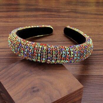 Hermosa Tiara de cristal colorida Vintage barroco, diadema de Diamante para boda,...
