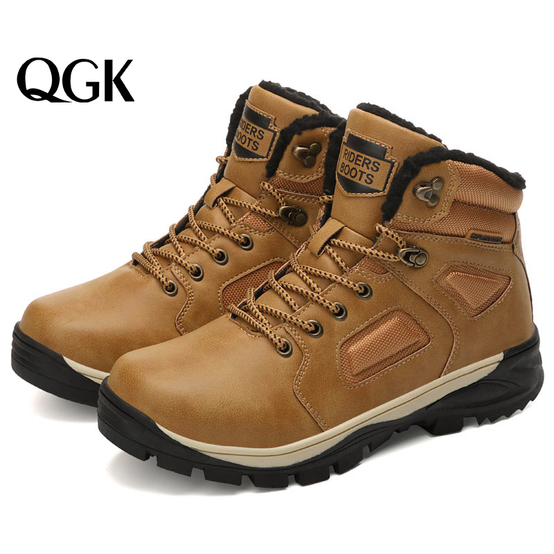 QGK Men Boots Winter British Trend Outdoor Booties Retro Men's Boots Tide Tooling Shoes Anti-slip Cashmere Keep Warm Male Shoes