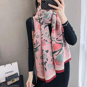 Image 5 - Bufanda cálida para invierno gruesa para mujer, chales de Cachemira, Pashmina con estampado Floral elegante para mujer, pañuelos de Foulard, diseño 2020