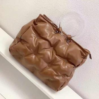 Fashion Space Padded Large Capacity Tote Women Handbag Designer Round Handle Handbags Leather Down Cotton Shoulder Crossbody Bag