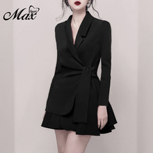 Max Spri 2019 New Women Fashion Office Lady 2 Piece Sets Suits Deep V Long Sleeve Wrap Top Slim Lace Up Blazer Short Skirt fashion beautiful slim wrapped skirt for women deep pink