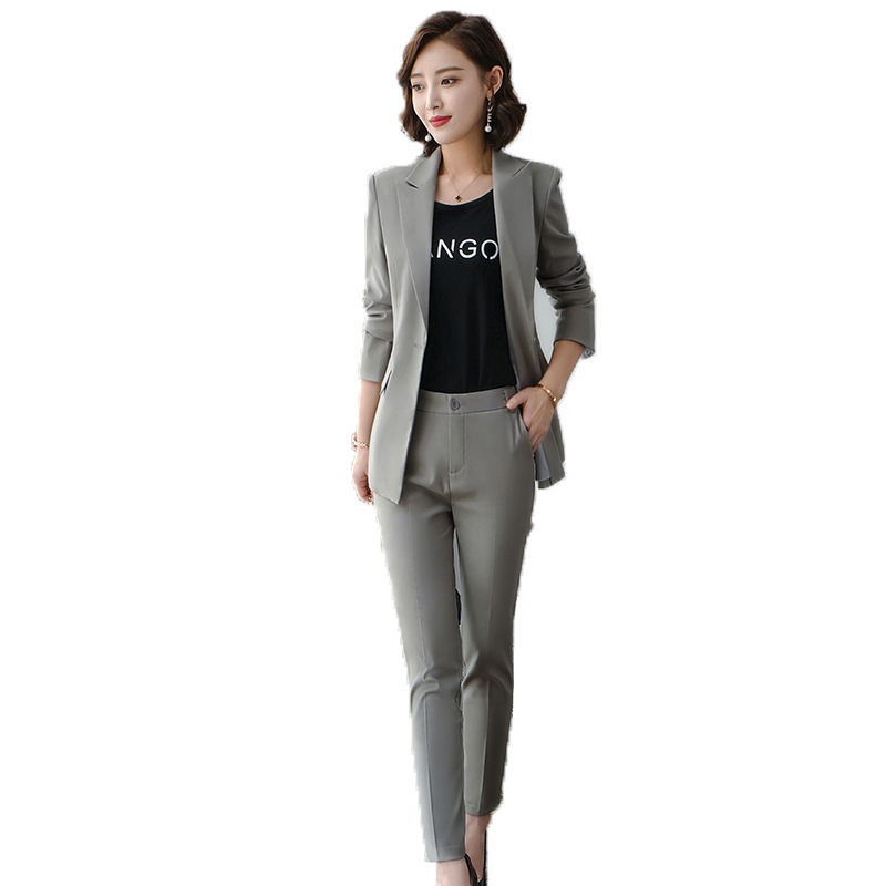 Women's clothes autumn and winter new fashion solid color single buckle lapel suit suit urban capable female overalls two-piece 41