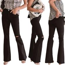 Moda Denim spodnie Flare kobiety Retro porwane jeansy spodnie z szerokimi nogawkami pani na co dzień Bell-spodnie i spódnice Skinny Denim spodnie dżinsowe Streetwear tanie tanio Matteobenni COTTON Pełnej długości Osób w wieku 18-35 lat 2020 Fashion 19B0071A WOMEN Plaid Wysoka Przycisk fly Kieszenie