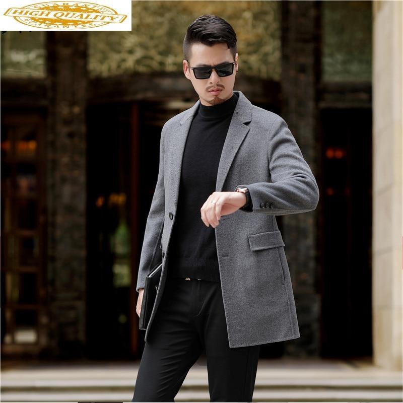 Winter Jacket Men's Wool Coat 2019 New Double Sided Single Button Long Coat For Men Business Casual Overcoat Outwear Plus Size