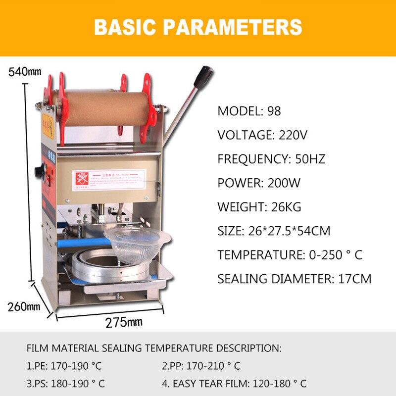 Scelleur manuel en plastique Machine de cachetage plateaux scellant d'emballage pour la nourriture à emporter emballage serrure frais boîte à déjeuner Machine de cachetage - 5