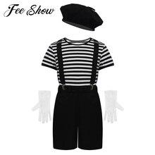 Нарядное платье унисекс для маленьких мальчиков и девочек с изображением французского мима и художника, костюм футболка в полоску топы с беретом, перчатки, комплект с подтяжками