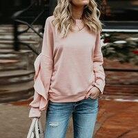 OEAK 2019 Winter Fashion Solid Sweatshirt Autumn Women Sweatshirts Casual Long Ruffle Sleeve O NeckPullovers Casual Tops