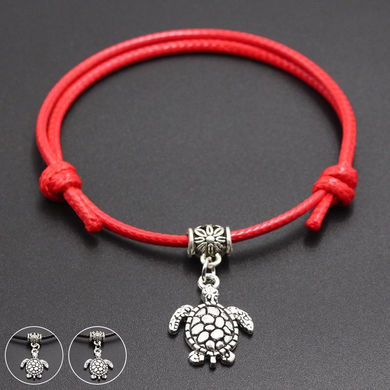 2020 New Tortoise Pendants Red Thread String Bracelet Lucky Handmade Rope Charm Bracelet for Women Men Lover Couple Jewelry