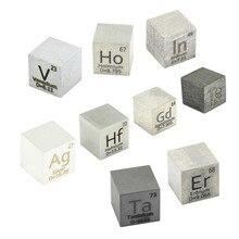 ใหม่ 9 PCSโลหะCubeชุด 10 มม.ความหนาแน่นก้อนUpความบริสุทธิ์ 99.99% Hafnium Indium VanadiumเงินTe ho Gd Ta Er