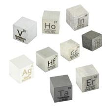 New Arrival 9 PCS Element Metal Cube Set 10mm Density Cubes Up  99.99% Purity Hafnium Indium Vanadium Silver Te Ho Gd Ta Er
