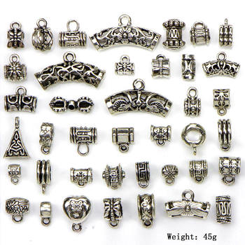 40pcs/set Antique Silver Connector Charms Crafts Bail Beads Pendant Clasp Bracelet Connector Diy Jewelry Making Accessories 20pcs antique silver tone dog charms cat pendant for jewelry accessories making 19 18mm