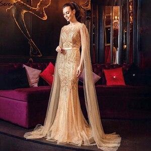 Image 3 - Serene Hill Dubai Vestido largo de noche con mangas y capa, rosa de lujo, con abalorios de sirena, vestido Sexy de fiesta, CLA70160, 2020